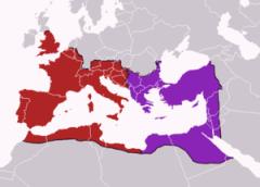 División del Imperio Romano año 395