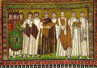 Justiniano en la basílica bizantina de San Vitale de Ravena