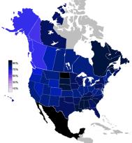 Porcentaje de la población norteamericana que pertenece a alguna religión