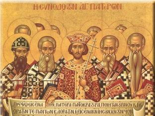 Constantino y los obispos del Concilio de Nicea