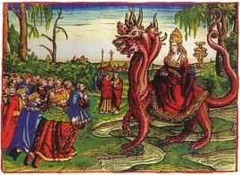 La Ramera de Babilonia con la tiara papal