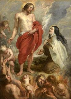 Sta Teresa intercediendo por Bernardino de Mendoza