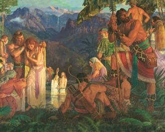 Jesús bautizando en América