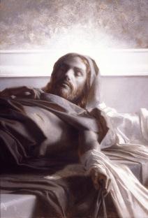 Jesús resucitando con su cuerpo humano