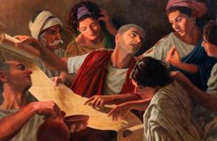 Primeros cristianos discutiendo las escrituras con el predicador