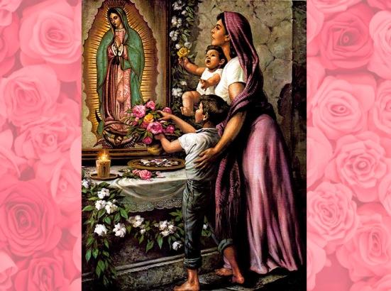 Venerando a la Virgen de Guadalupe